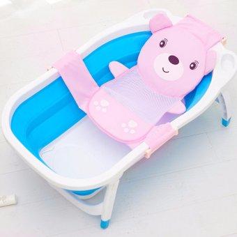 Baby Bath Cotton Mesh Net Bag Children's Bear Head Bath Bed BathFrame (Pink) -