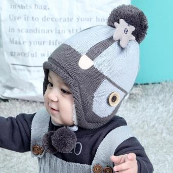 Bayi Boys Girls Beanie Beruang Kapas Hat Anak-anak Cetak Knitting Topi-Intl