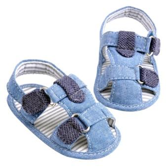 Boys Anak Sepatu First Walkers Sangat Ringan Indoor Lembut Sole Crib Sepatu Bayi (Biru)