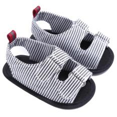 Baby Canvas Lembut Sepatu Pertama Walker Sepatu Musim Panas Sole Sandal Baru Lahir Striped Prewalker (Hitam) -12 Cm-Intl