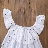 ... Bayi Perempuan Harian Pakaian Musim Panas Anak Pakaian Rusak Lubang Denim Celana Pendek Putih Titik Atasan ...