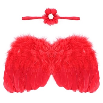 Baby Girls Angel Wings Wing Set Feather Newborn Photography Props - intl