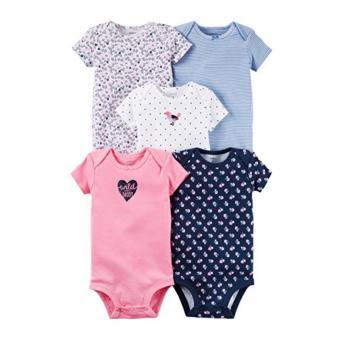 Baby Grow - Baju Bayi Baju Anak Bodysuit Jumper Lengan Pendek 5in1 - Girls