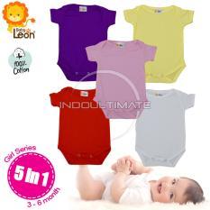 BABY LEON Baju Bayi Jumsuit 5pcs BC-01 seri cewek Newborn / 100% katun / Pakaian bayi / baju bayi laki laki baju bayi perempuan / perlengkapan bayi / jumper / baju set bayi newborn / kaos bayi