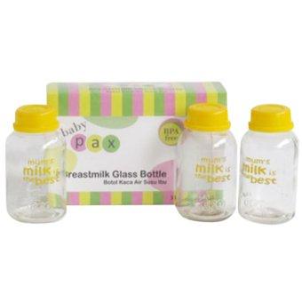 Baby Pax - Botol Kaca Asi - Isi 3 Pcs - Botol Untuk Menyimpan ASIBotol Kaca ASI BPA Free Botol Berpergian Botol Bagus Botol ASIBotol Kaca Murah Botol Susu - Alat Bantu Ibu Menyusui