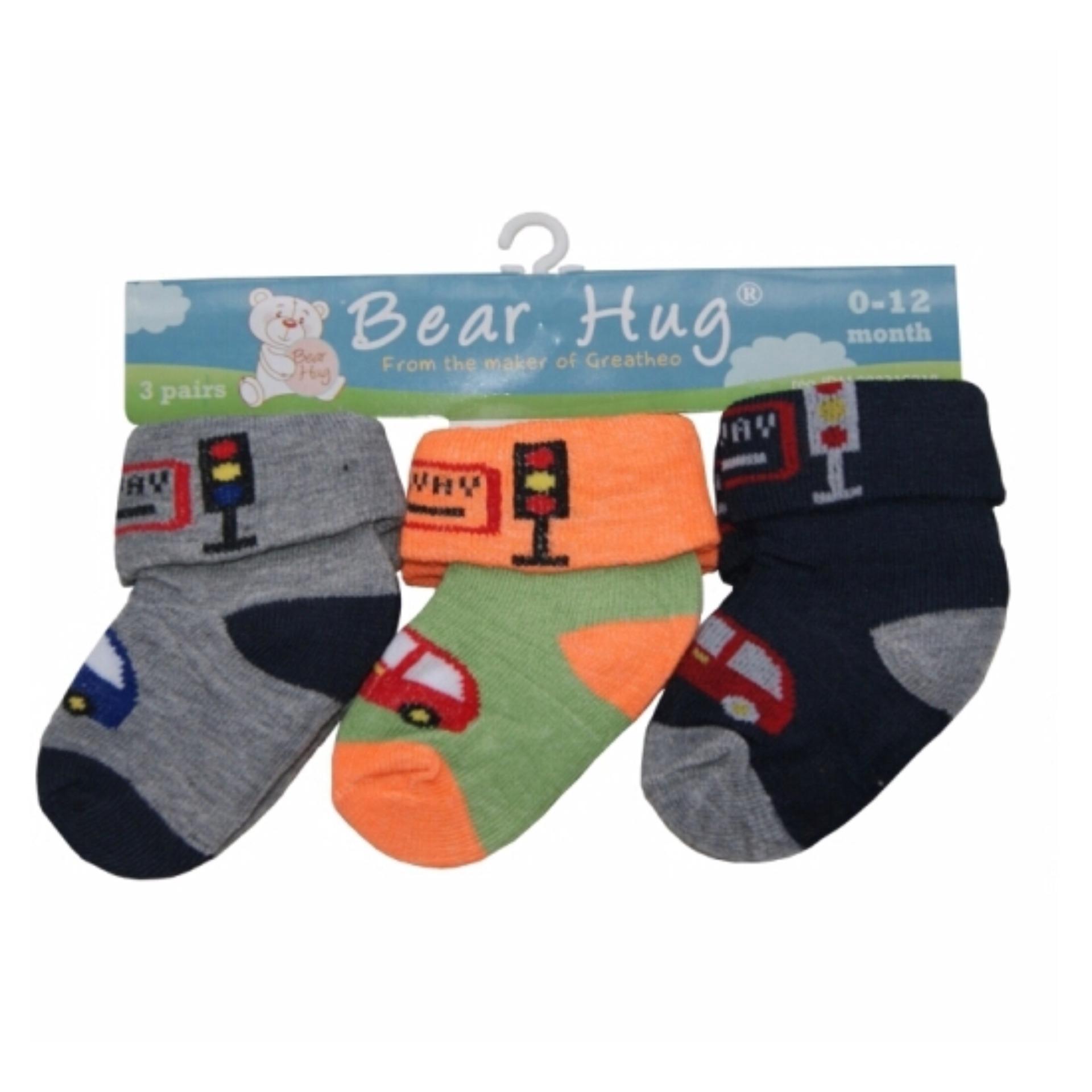Baby Grow Socks Car 3in1 Packs Girls Set Kaos Kaki Bayi Isi 3 Pasang Uk 6 18 Bulan Kode Bg 1 Talk Bear Hug