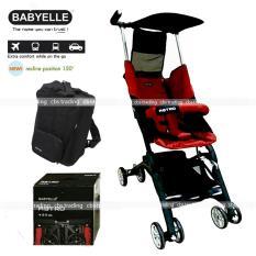 Babyelle Stroller S350 New Reclining Astro With BagPack - Kereta Dorong Bayi - Merah