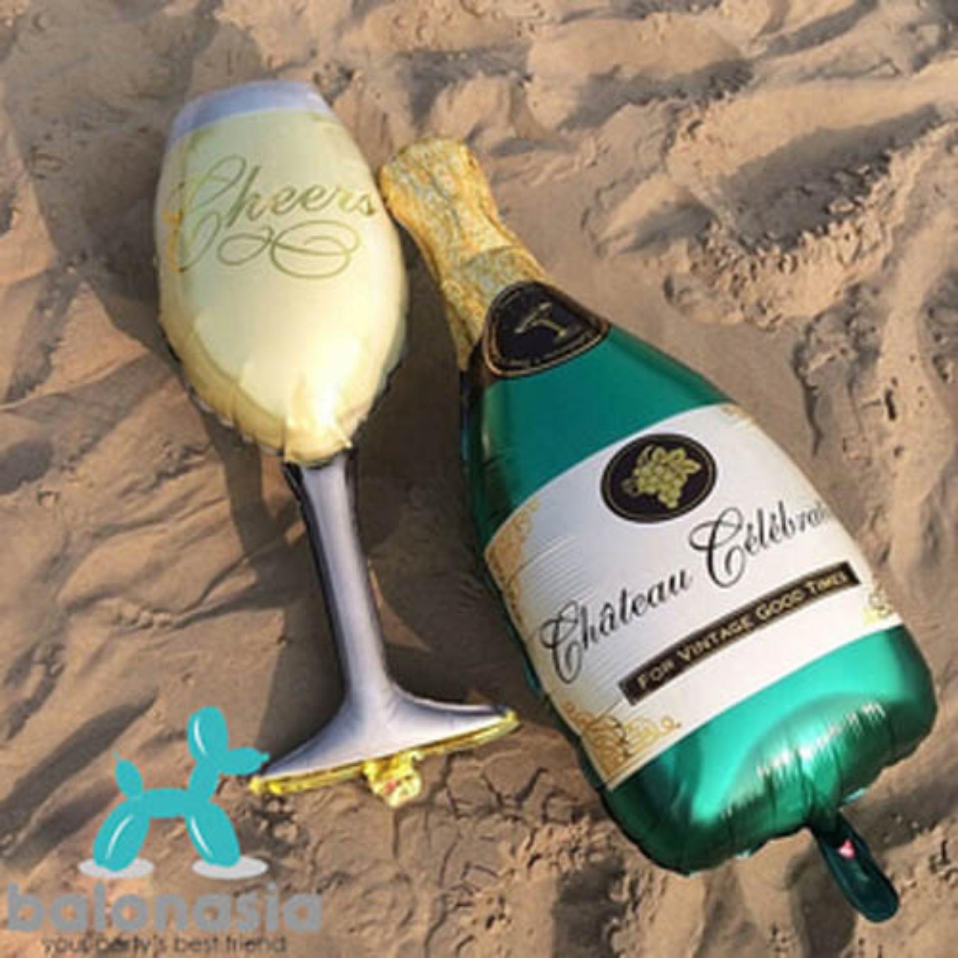 Balonasia Balon Foil Champagne Piala Cheer Perayaan Helium Dekorasi Backdrop Tirai Dekorasipernikahan Pesta Ulang Tahun