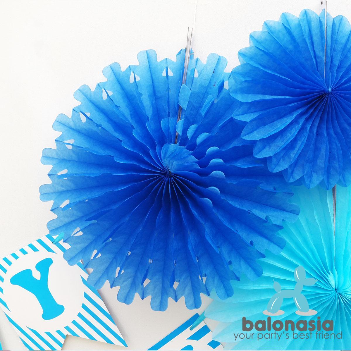 Balonasia Dekorasi Backdrop Set Ulang Tahun Blue Multipattern Tirai Foil