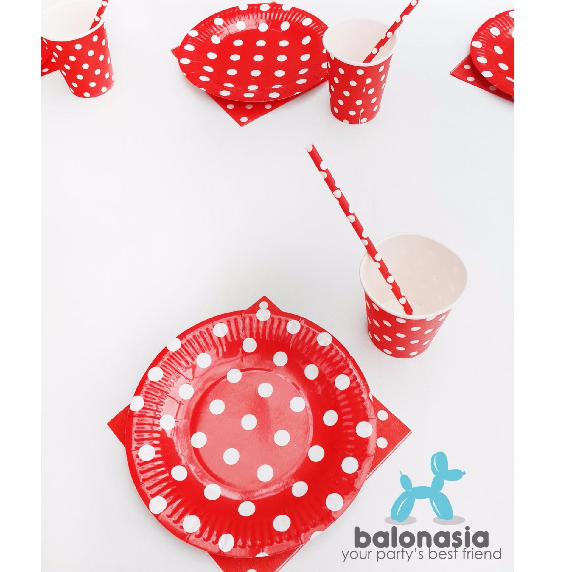 Balonasia Dekorasi Backdrop Set Ulang Tahun Cheerful Red Polkadot Tirai Foil Table Ware Party 10 Orang Anak