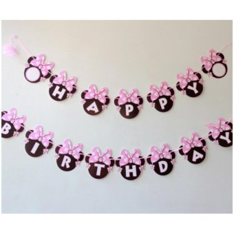 Banner / Bunting Flag Happy Birthday Motif Minni Mouse