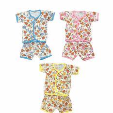 BAYIE - 3 SET MY BABY Setelan Baju Bayi Lengan Pendek + Celana Pendek 100% katun Motif lucu umur 0-6 bulan/baju santai/celana rumah/anak laki-laki/anak perempuan