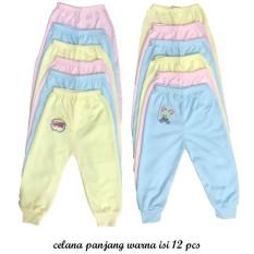 BAYIe - Celana Panjang Bayi Warna LILY isi 12 pcs umur 0-6 bulan/celana santai/celana rumah/anak laki-laki/anak perempuan