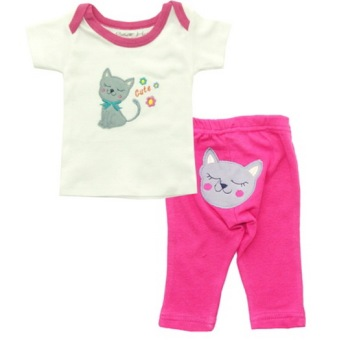 Bearhug 2 Pieces set Bayi Perempuan 0-12M Cat - Pink