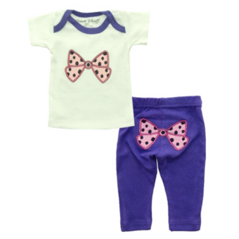 Bearhug 2 Pieces Sets Bayi Perempuan 0-12M Bow - Ungu