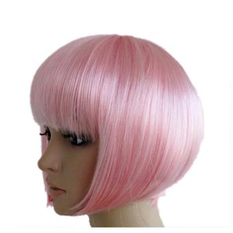 Bobo Pendek Lurus Berwarna Merah Muda Gaun Pesta Rambut Wig Cosplay