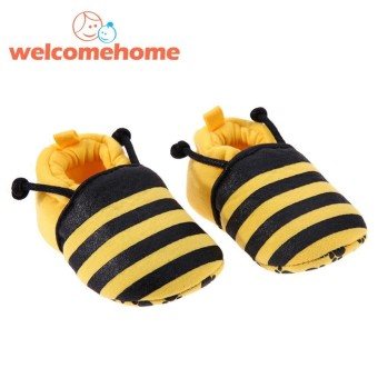 Cartoon Yellow Bee Pattern Baby Shoes Elastic Band Soft First Walker Shoes (Yellow)-
