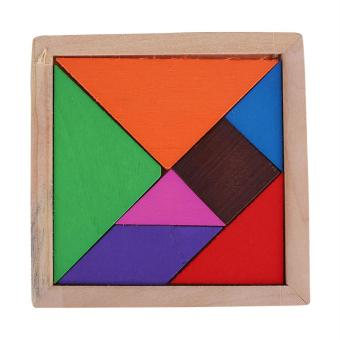 Color Wooden Tangram 7 Piece Wood Puzzle Brain Teaser Jigsaw Intelligent Kid Toy - intl