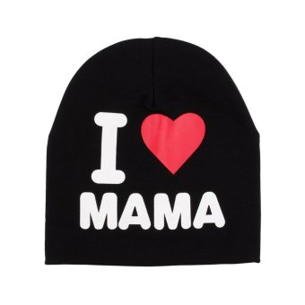 Cotton Soft Cute Toddler Kids Baby Infant Warm Hat Cap New (I Love Mom Black) - intl