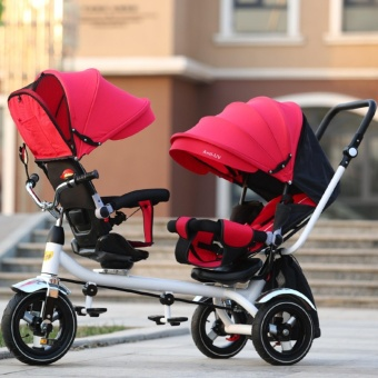 Double Stroller Child Bike Stroller Double Seats Baby Tricycle forTwins Bike Folding Three Wheels Twins Tricycle