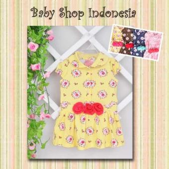 Dress Kaos Flowery Three Flowers Kuning
