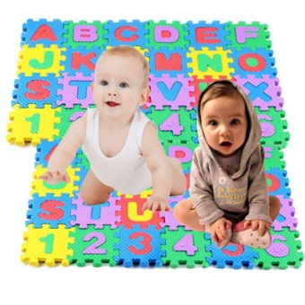 Sunshop 36 pcs Baby Kids Alphanumeric Educational Puzzle BlocksInfant Child Toy Gift Crawling Mat - intl