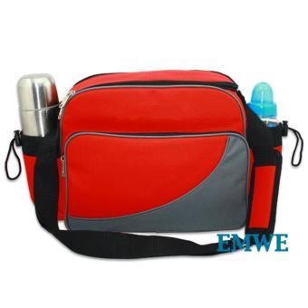 EMWE Baby Bag Mini tas slempang perlengkapan makan botol susu bayi Tas selempang Tempat Makan Bekal Anak Lunch Baby Box Bag 2in1 - RED - 3