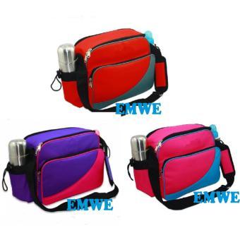 EMWE Baby Bag Mini tas slempang perlengkapan makan botol susu bayi Tas selempang Tempat Makan Bekal Anak Lunch Baby Box Bag 2in1 - Ungu - 5