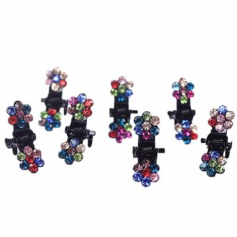 Fancyqube 10 Pcs New Rhinestone Flower Shape Small Mini Hair Claw Clips for Baby Girls Kids Claws Clamp Clip Hairpin Nice Gift [size:10 pcs(Random)] - intl - 4