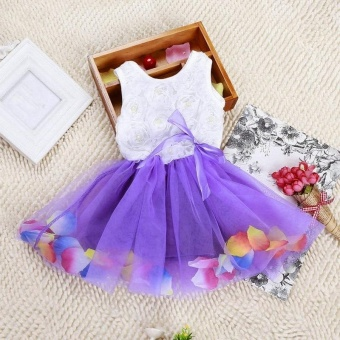 Fashion Lovely Toddler Baby Kid Girls Princess Party Tutu Lace BowFlower Dresses Skirt Clothes - intl