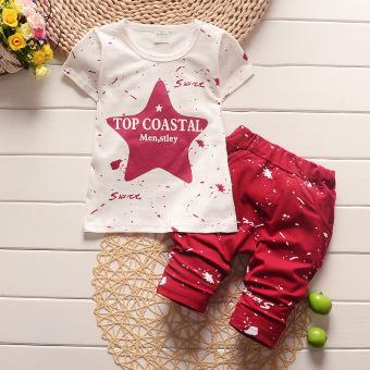 Fashion Murni Cotton Bayi Boys Summer Pakaian Set Murni Kapas Star Printed Warna Merah Anak-