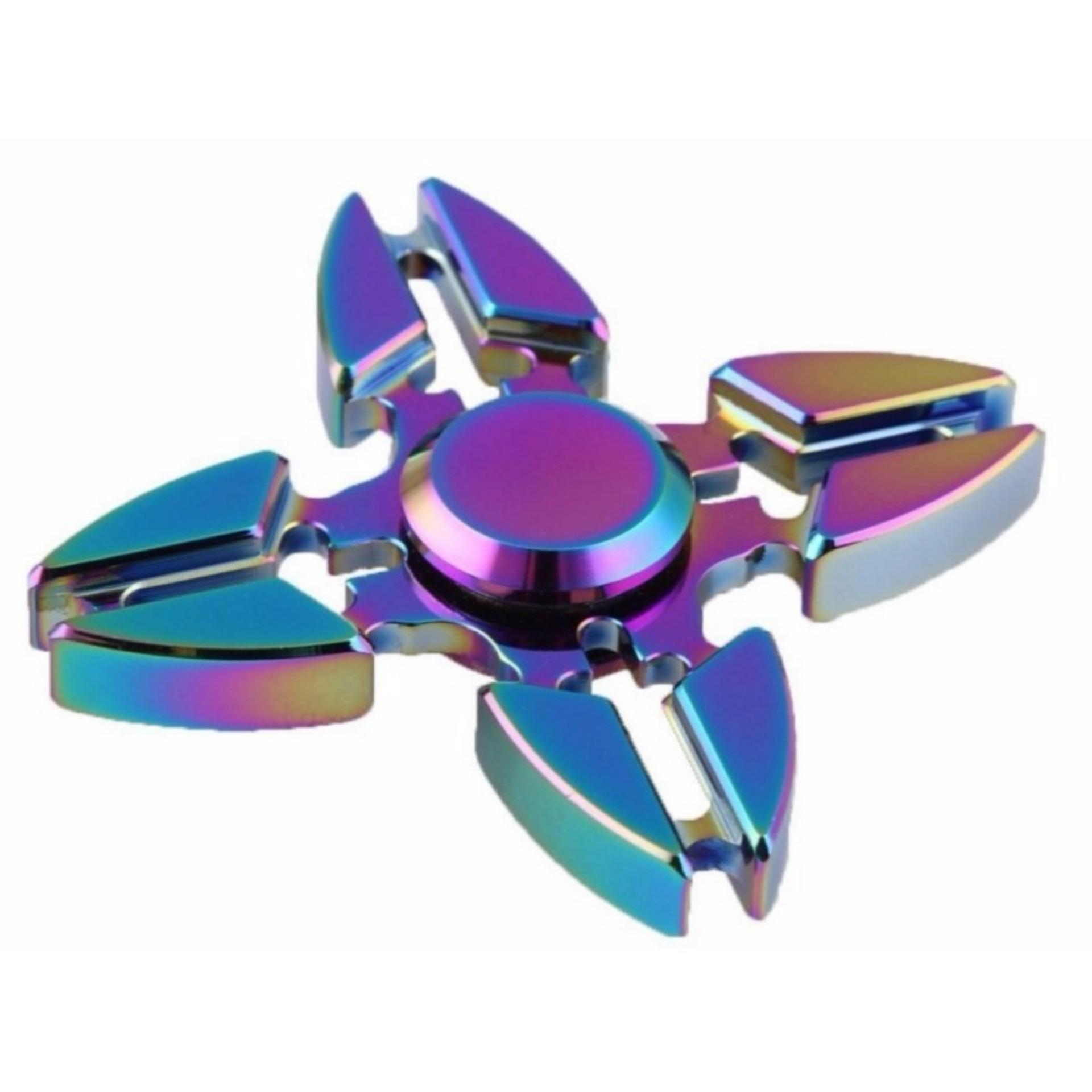 Fidget Hand Spinner Premium Rainbow Chrome Shuriken 4 Bintang 2,6 inch Anti- Stress