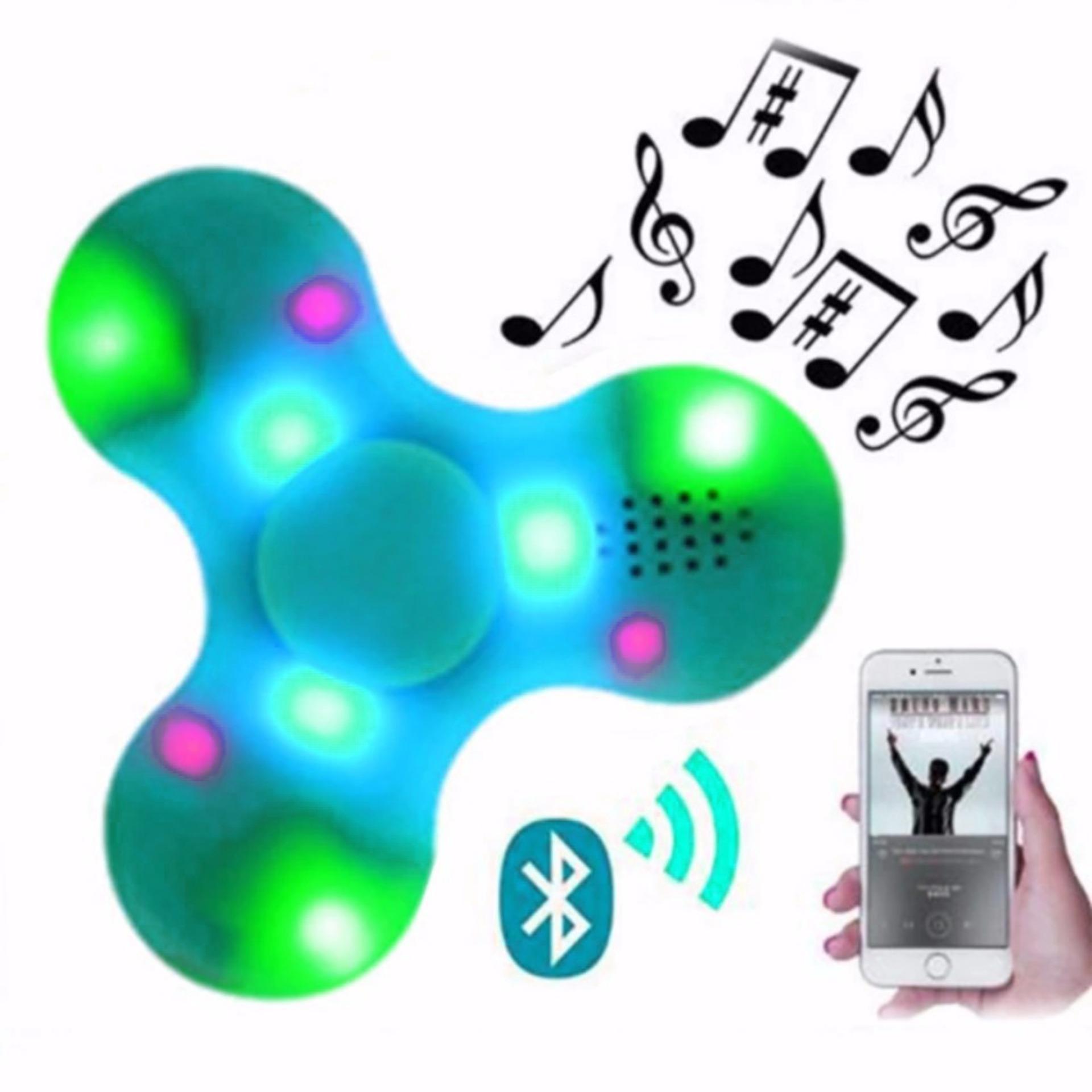 Fidget Spinner Finger Hand Toys Model Cabang 3 Bola Besi Warna Pelastik Segi Lima Built In Speaker Bluetooth Led Light Colors Disco On Off