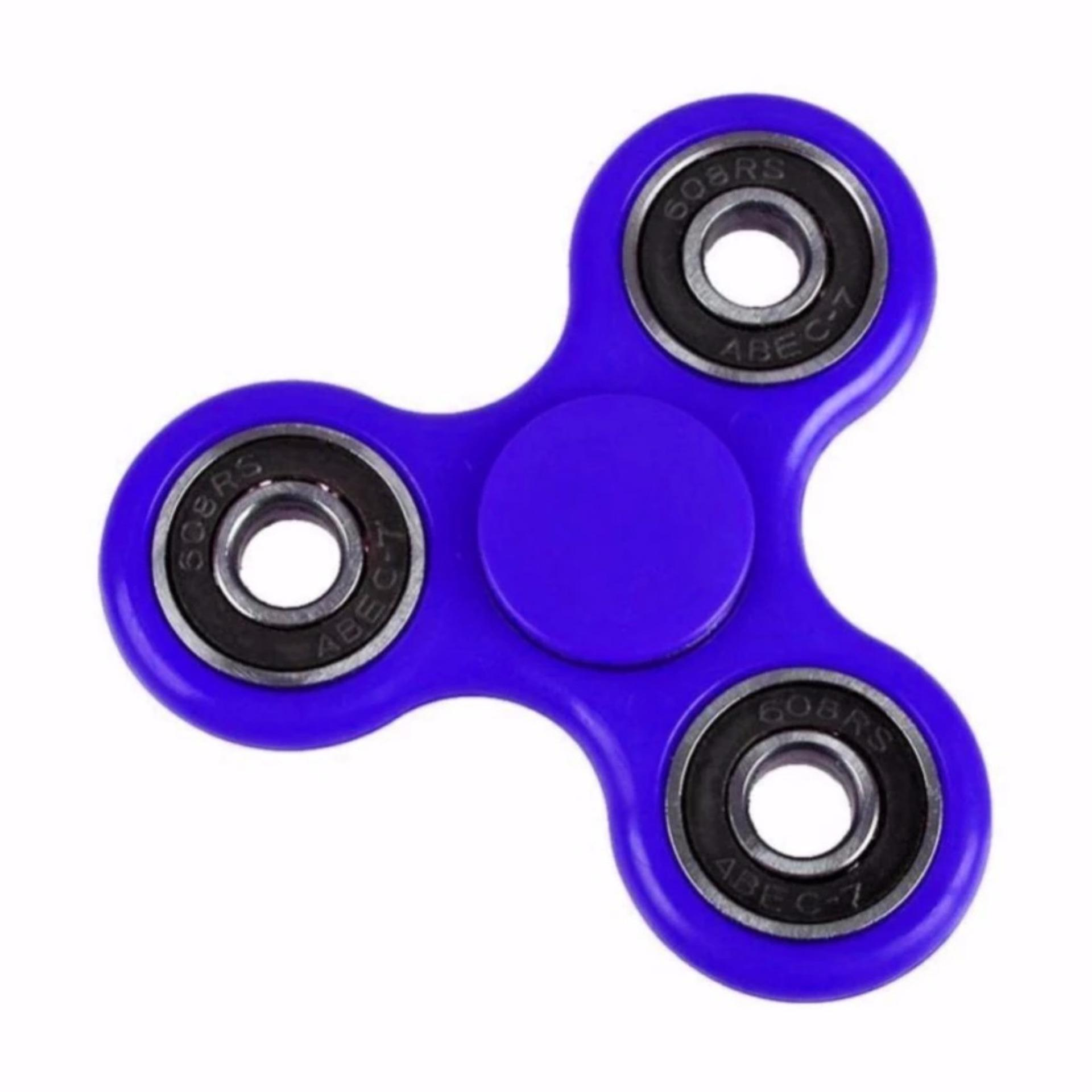 Fidget Spinner Hand Toys Mainan Tri Spinner EDC Ceramic Ball Focus Games Biru .