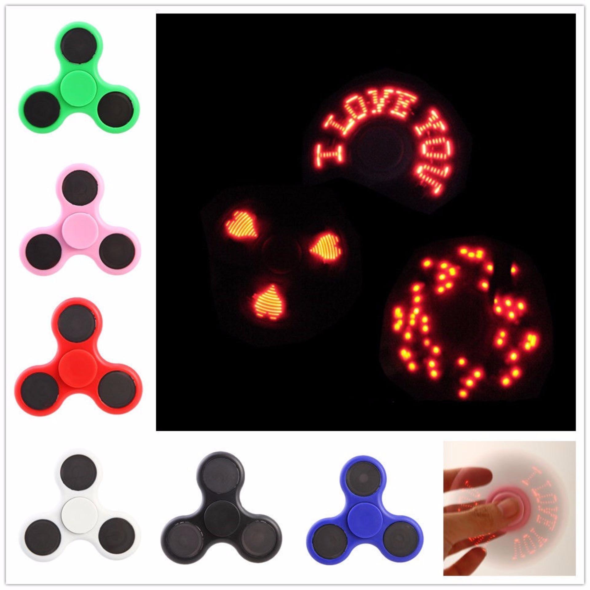 Fidget Spinner LED I Love You Motif Karaktrer Led Hand Toys Tri Spinner Led Focus Games