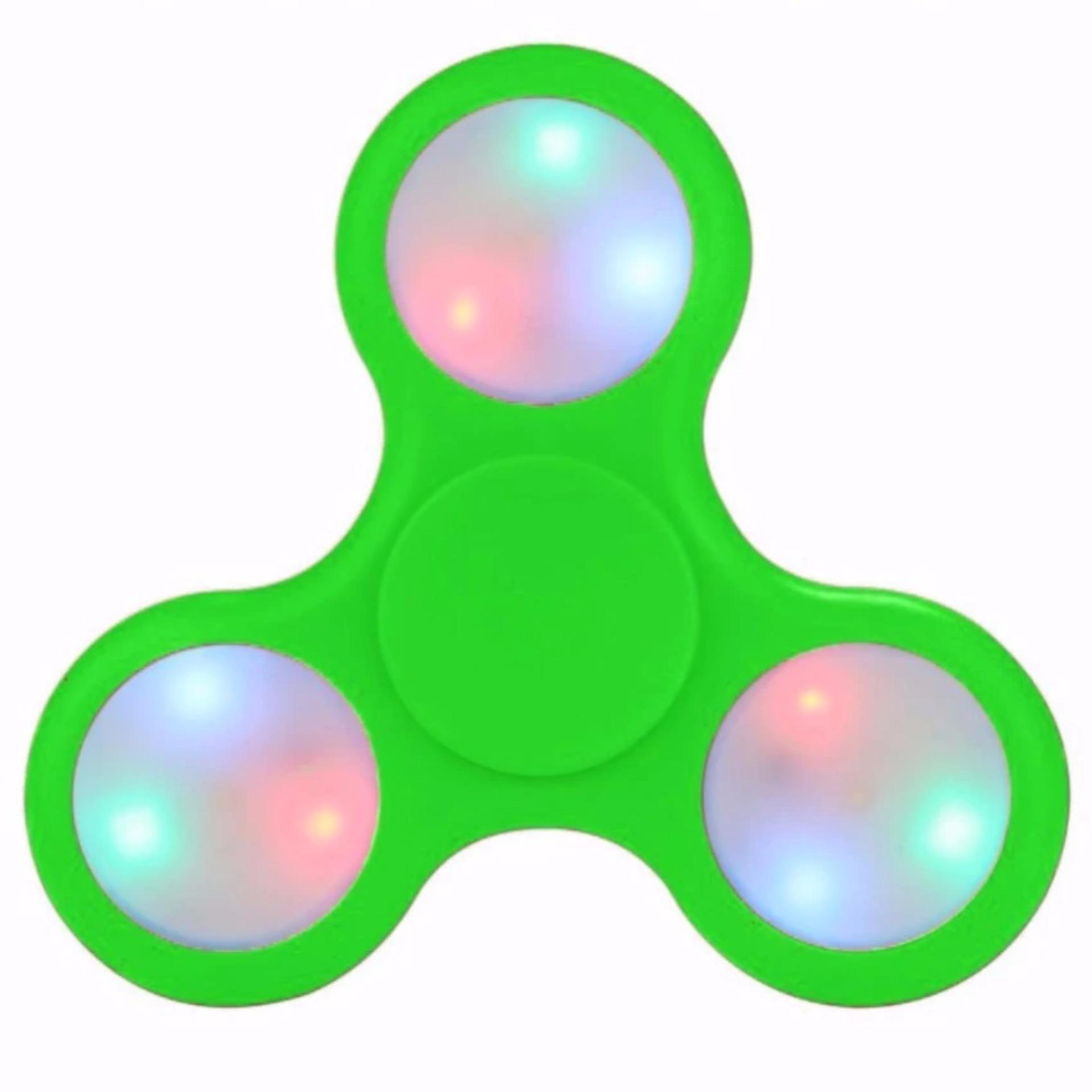 Fidget Spinner LED Light Colours Disco ON OFF Hand Finger Toys for Focus Anxiety & Stress Relief EDC Tri-Spinner - Mainan Jari Tangan Putar Lampu LED Disko ...