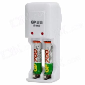 Harga GP 700mAh AAA Rechargeable Battery AND charger kits for AA/AAA(Chinese Retail Packaging)- White