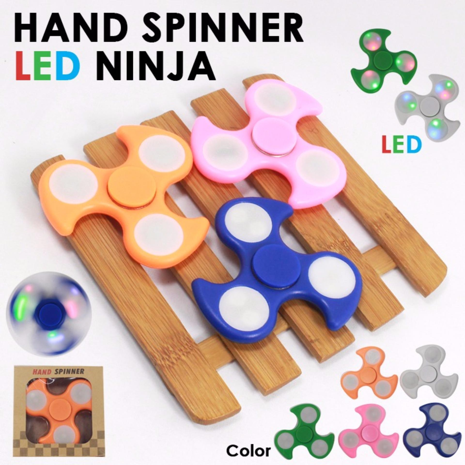 Happy Fidget Hand Spinner Shuriken NINJA With LED Hand Toys Focus Games - Mainan Spiner Penghilang