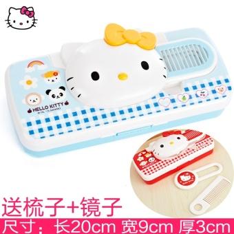 DISKON Hello Kitty KT kucing plastik cermin sisir pensil kotak pensil Pensil Kasus MURAH