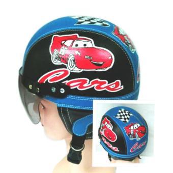 Helm Anak Broco Chip Retro Raca Riben Lucu Usia 1 sampai 5 tahun Motif Cars Hitam