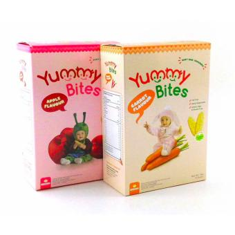 Harga Yummy Bites - 2 Box Biskuit Yummy Bites Rice Cracker 50 Gram - Rasa Apel dan Wortel