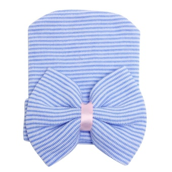 Harga PAlight Lovely Baby Soft Knit Cotton Striped Caps (Blue)