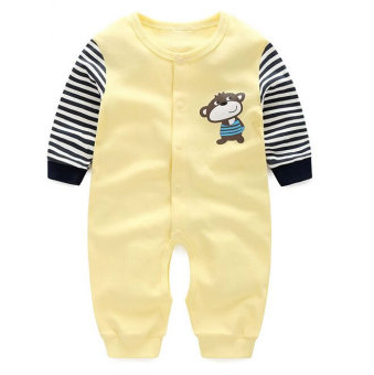 Harga Newborn Open-Crotch Baby Boys Lovely Monkey Striped Clothes Baby Yellow Rompers Body Suits Jumpsuits - intl