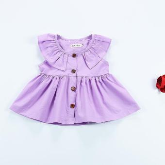 Harga Girls Dress Baby Pure Nordic Style Cardigan Dress- Purple - intl