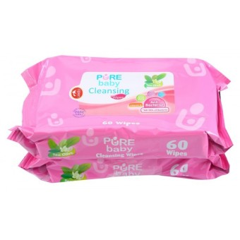 Harga Pure Baby Cleansing Wipes Tea Olive 60's