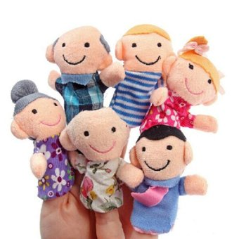 Harga 6Pcs One Family Finger Puppets Creative Baby Kids Plush Cloth Game Doll Toy - intl