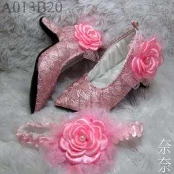 Harga Baby Heels Prewalker Weding rose pink with hair band