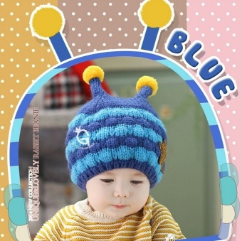 Harga ilovebaby Cute Little Bee Style Two-toned Stripe Woven Knit Crochet Warm Winter Hat for Baby Kids Toddler - blue