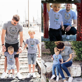 Harga (Kid's) Couple T-Shirt Adult Baby Kids Boys Bear Matching T-shirts Family Clothes - intl