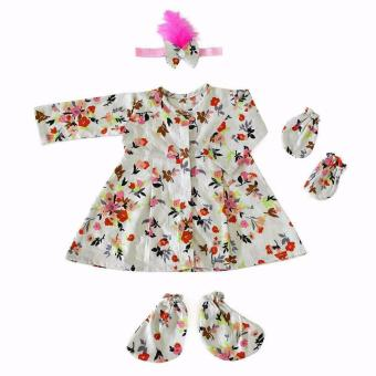 Harga SET NEWBORN ROYAL WHITE FLOWERY BABY DRESS
